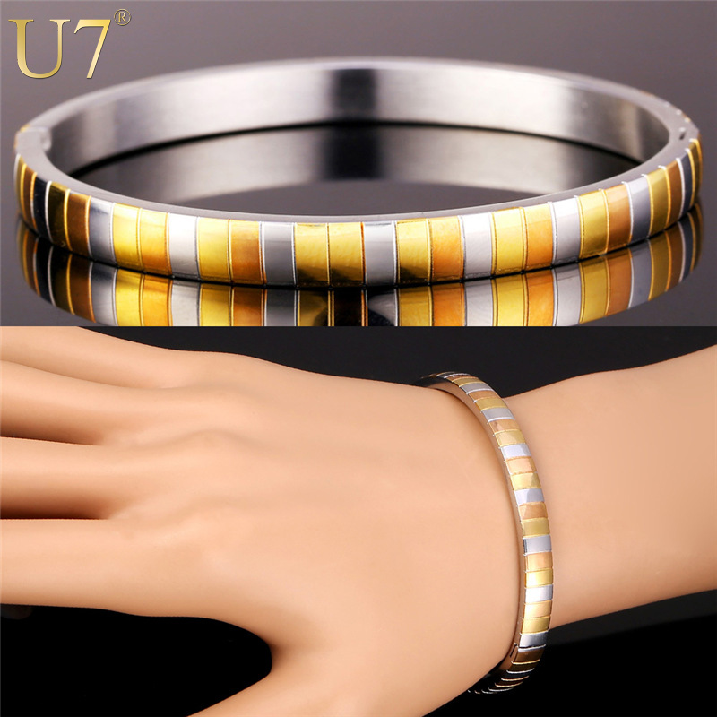 U7 Two Tone Bangles For Women European Fancy Style Gold Color 316L ...