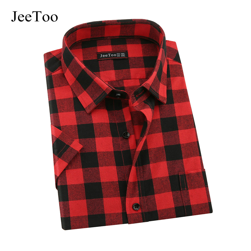 Jeetoo brand red and black plaid mens shirts short sleeve for Mens black plaid dress shirt