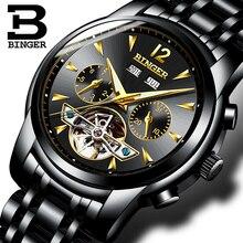 2017 NEW BINGER men's watch full Calendar Tourbillon sapphire multiple functions Water Resist Mechanical Wristwatches B8608M1