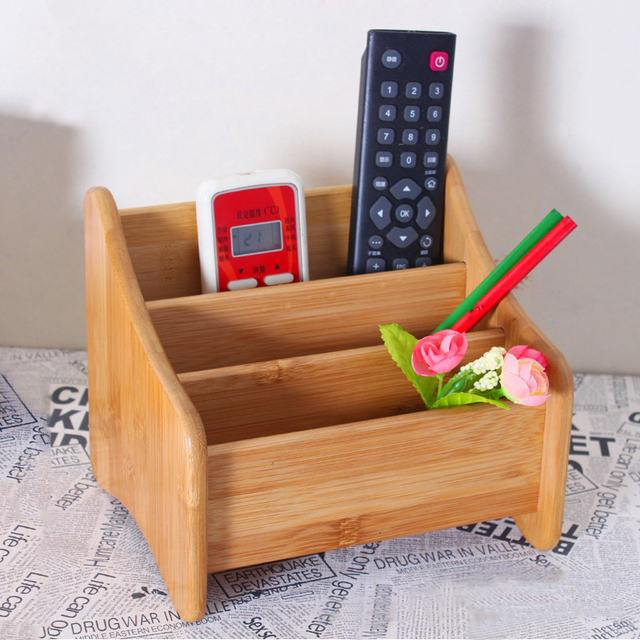 3 Grid Bamboo Remote Control Storage Box Stationery Remote Control Headphone Cable Cell Phone Desktop Storage Box Organizer