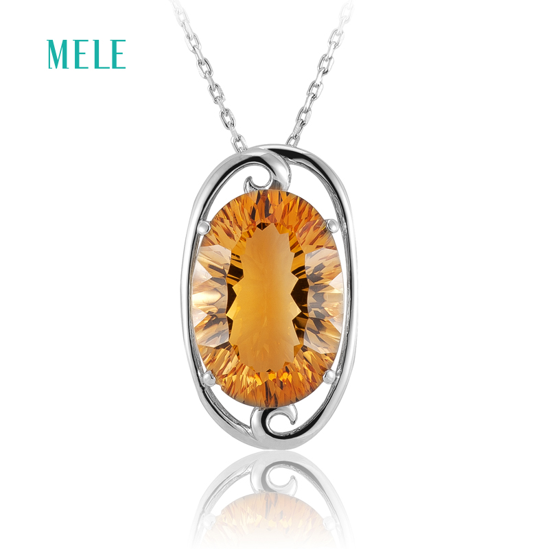 MELE Natural yellow citrine silver pendant , 12mm*16mm oval shape, all clean and dark color, full fire cutting, romantic styleMELE Natural yellow citrine silver pendant , 12mm*16mm oval shape, all clean and dark color, full fire cutting, romantic style