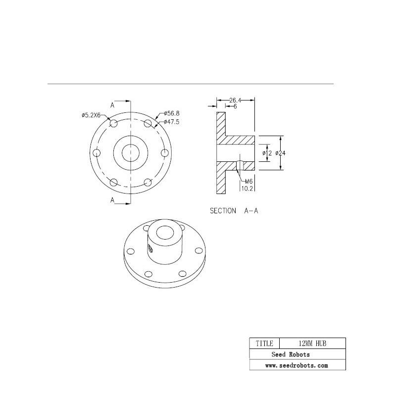 Unihobby Uh18010 12mm Motor Shaft Coupling Mecanum Wheel 12mm Motor
