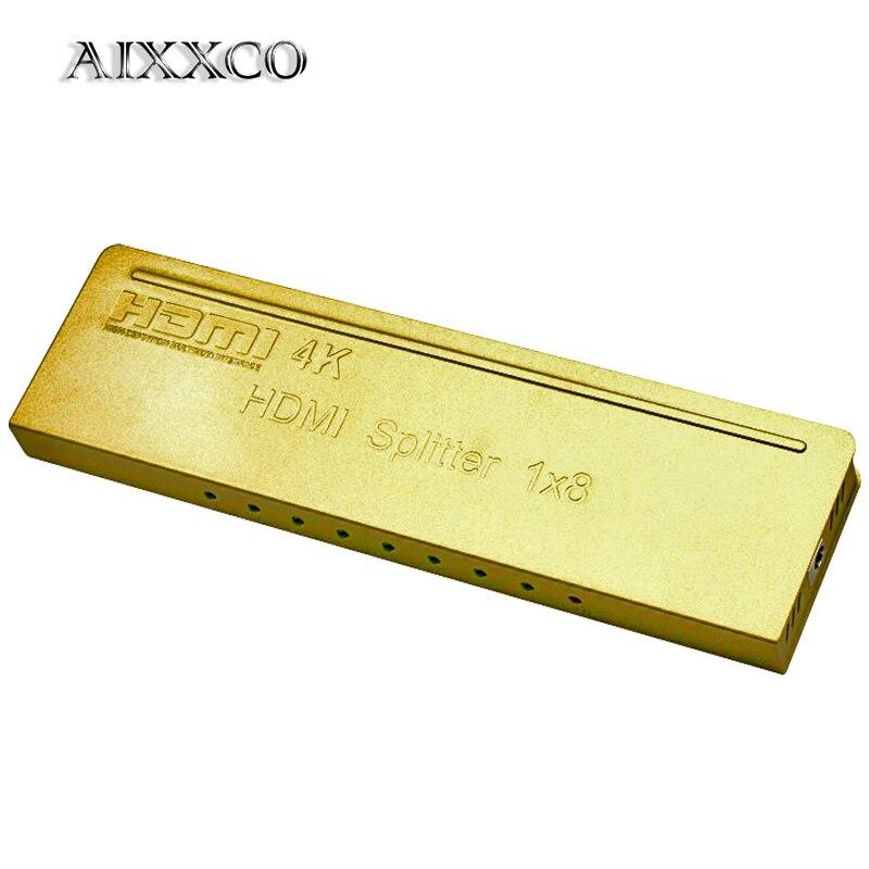 AIXXCO répartiteur HDMI 4 K * 2 K 8 Ports Mini commutateur 1.4b 1080 P pour DVD HDTV Xbox PS3 PS4 1 en 8 Port de sortie Hub HDMI