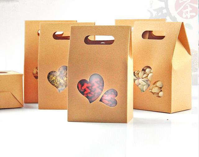 6 27 10pcs cute kraft paper food packaging bag with pvc heart window and handle for food