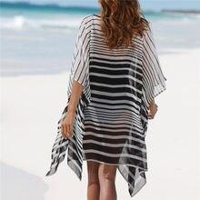 67bd6c32efbdf Yaz Plaj Elbise Tunik Kadın Artı Boyutu Batwing Kollu Gri Degrade Çizgili  Seksi Şeffaf Gevşek Kısa Elbise Sundress N593