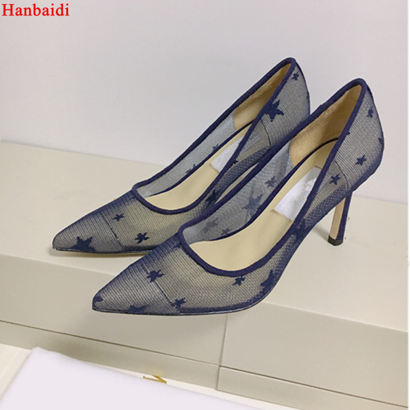 Hanbaidi Sexy Black Lace Printed Flowers Women Pumps Runway Pointed Toe Slip On Stiletto High Heels 10cm Party Dress Shoes Women newest flock blade heels shoes 2018 pointed toe slip on women platform pumps sexy metal heels wedding party dress shoes
