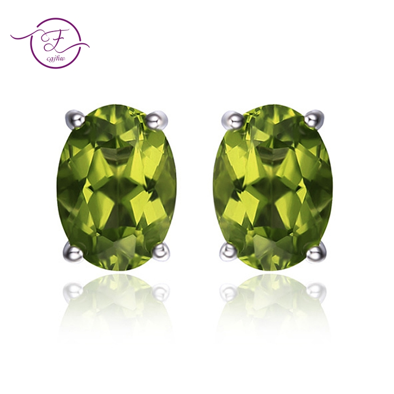 Genuine 925 Sterling Silver Earrings Oval Natural Green Peridot Stud Earrings For Women Gemstone Earring Party Anniversary Gifts