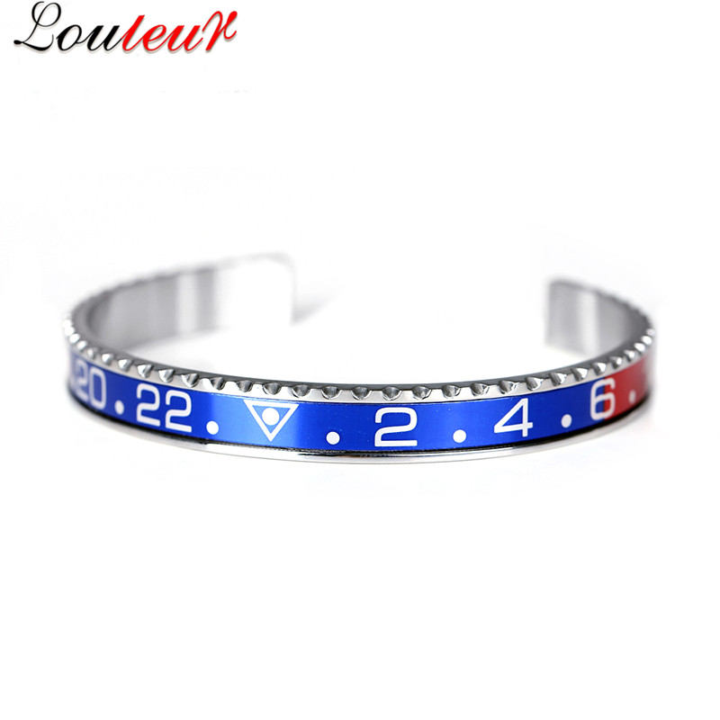 Louleur 18 Italian Style New 316L Stainless Steel Cuff Bracelet Bangle Men Women Speedometer Bracelet Open Bangles Jewelry 9