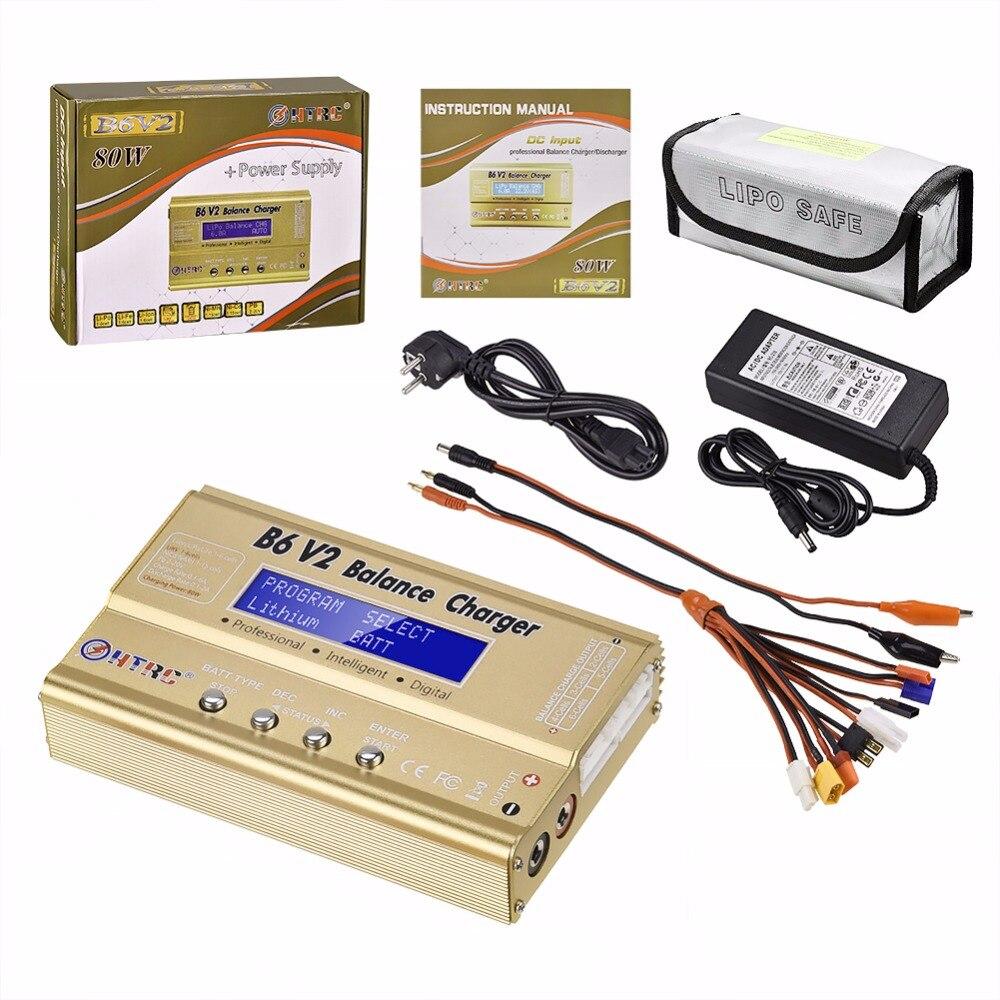 HTRC imax B6 V2 80 W chargeur d'équilibrage de batterie + adaptateur secteur 15 V 6A + LiPo Safe protège-batterie sac anti-déflagrant + jeu de câbles 8 en 1