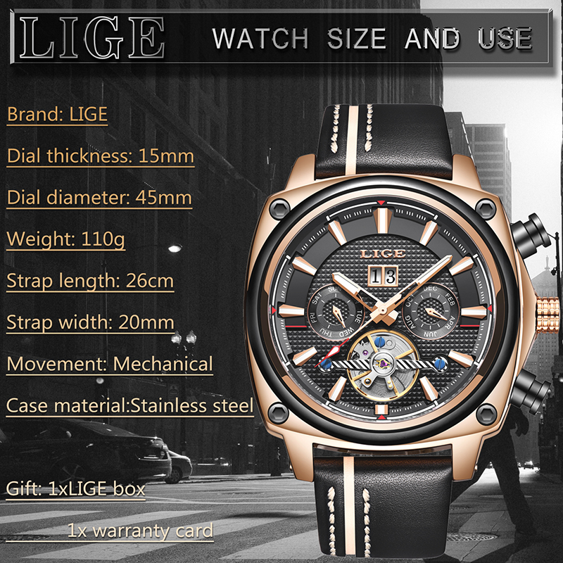 Relogio Masculino LIGE Mens Watches Top Brand Luxury Military Sport Automatic Watches Men Tourbillon Waterproof Mechanical Watch