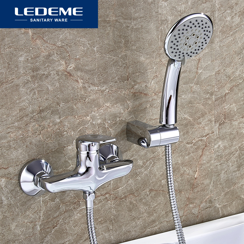 LEDEME New Bathroom Bathtub Faucets Classic Bathroom Bathtub Faucet Mixer Tap With Hand Shower Head Set Wall Mounted L2048 ledeme chrome plated bathroom bathtub faucets mixer shower set tap with hand brass bathroom bathtub faucet shower head set l2049