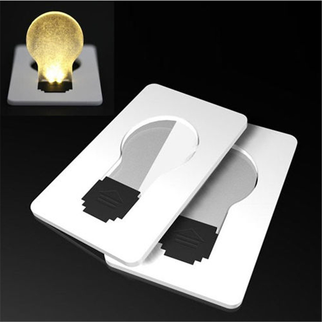 Hot Penjualan Cahaya Saku Ukuran Dompet Lampu Kartu Kredit Putih Portabel 1 PC Kreatif LED Bulb