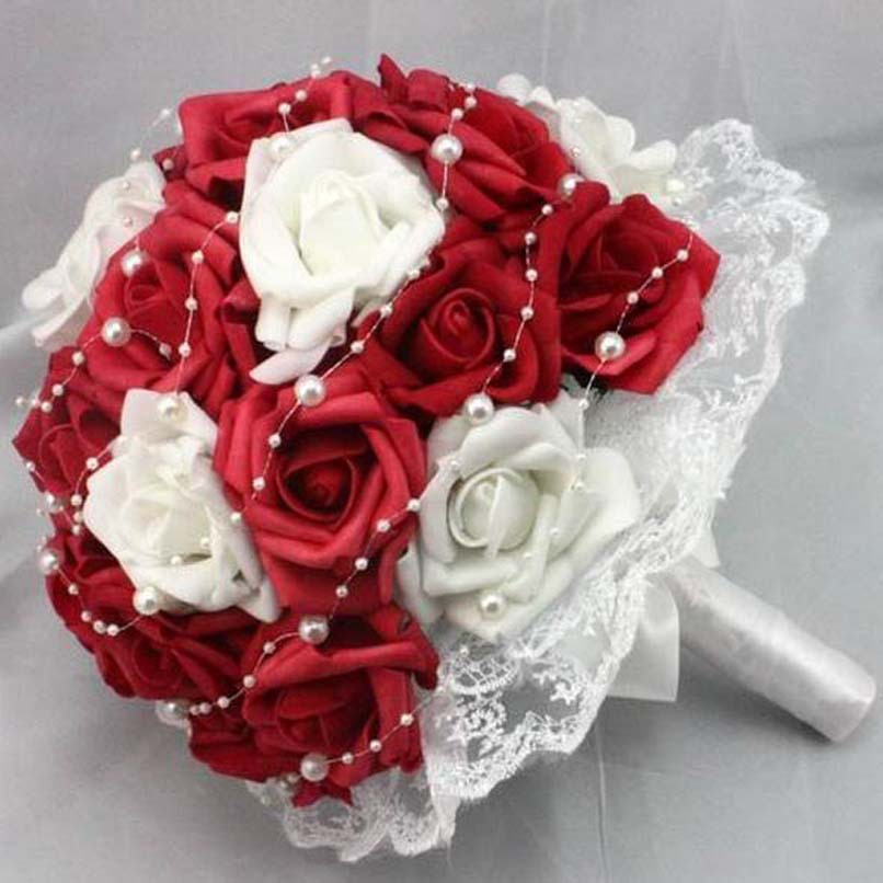 red rose wedding flowers Red and White Rose Flowers Artificial ...