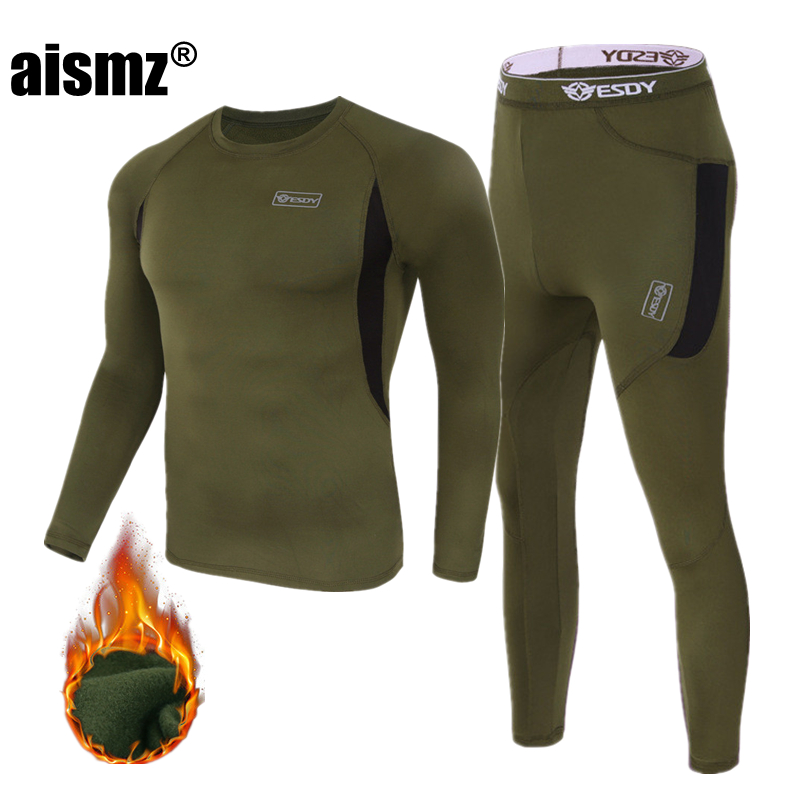 Aismz Winter Top Quality New Men Thermal Underwear Sets Compression Fleece Sweat Quick Drying Thermo Underwear Men Clothing