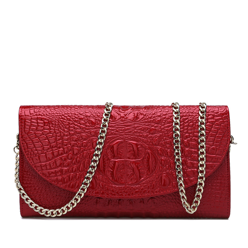 Famous Brands Vintage Luxury Genuine Leather Alligator Women Handbag Chains Banquet Clutch Bag Shoulder Crossbody Messenger Bag women day clutch genuine leather envelope bag banquet women handbag vintage cowlayer messenger bag