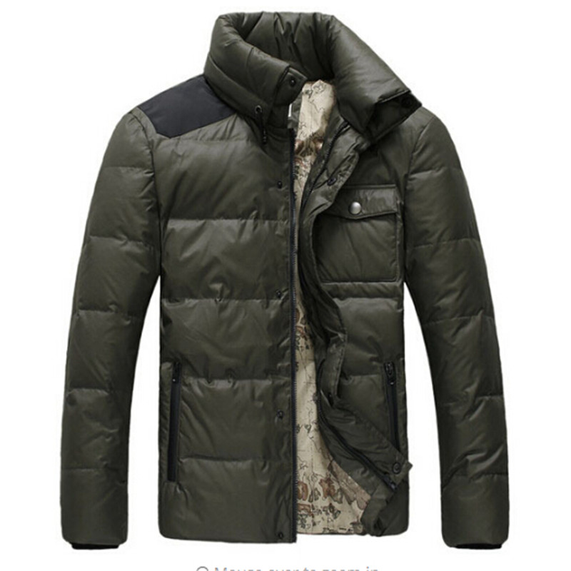 2016 Fashion New Men Winter Duck Down Coat Parka Mens Casual Stand Collar Warm Coats High Quality Map Pattern Jacket