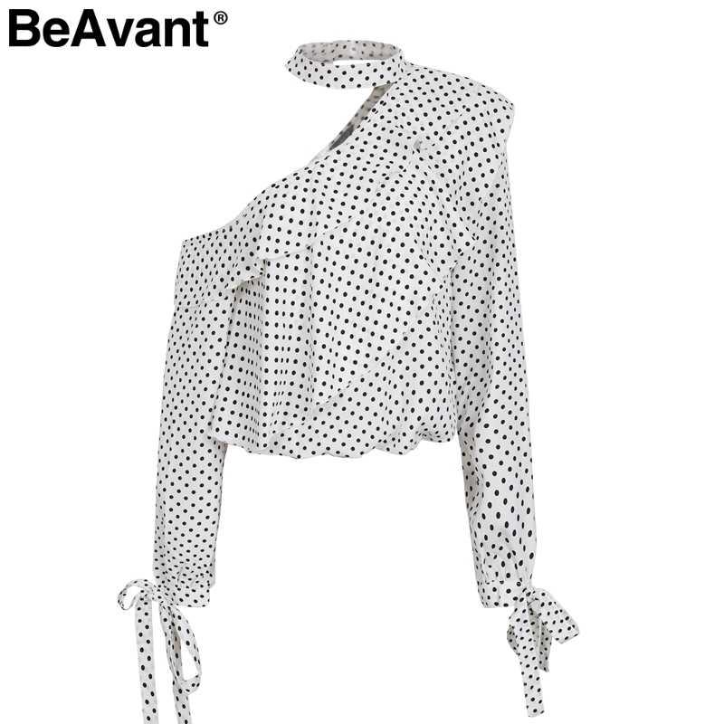 BeAvant مثير واحد الكتف نقطة أسود بلوزة قميص المرأة عارضة الكشكشة بلوزة شيفون أعلى الصيف فانوس كم ريترو blusas 2018