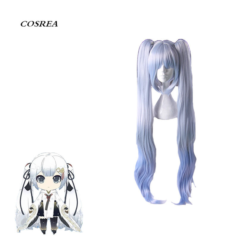 COSREA Vocaloid Hatsune Miku Cosplay Costume Blue Long Wavy Hair Heat Resistant Synthetic Hair Halloween Party For Woman