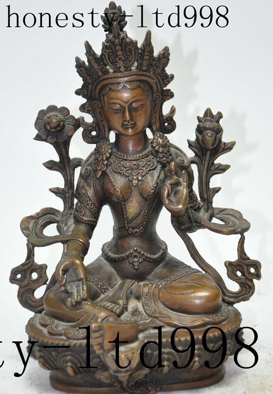 tibet buddhism bronze fane lotus green Tara kwan-yin Bodhisattva Goddess statuetibet buddhism bronze fane lotus green Tara kwan-yin Bodhisattva Goddess statue