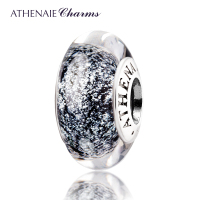 ATHENAIE Genuine Murano Glass 925 Silver Core Black Fluorescent Charms Bead Fit All European Bracelets Gift