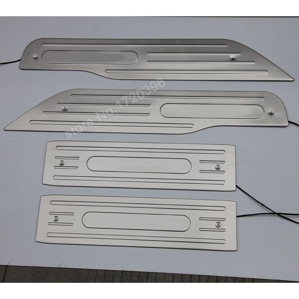 Acier inoxydable LED seuil de porte plaque de seuil pour 2003-2008 2009 2010 2011 2012 2013 2014 Toyota Alphard accessoires voiture style