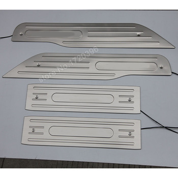 Stainless steel LED door sill scuff plate for 2003-2008 2009 2010 2011 2012 2013 2014 Toyota Alphard accessories car styling