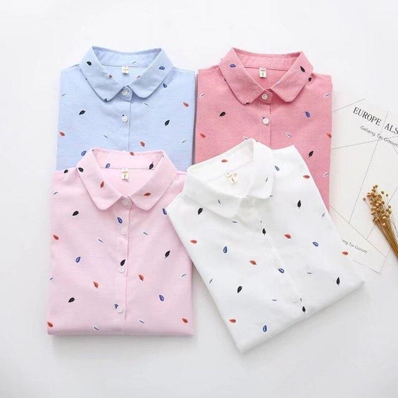 Ih Mulheres Top De Algodão Camisa de Manga Longa de Impressão 2019 Primavera de Moda de Nova Senhora Do Escritório Casual Camisa Azul Branco Tops Blusa feminina