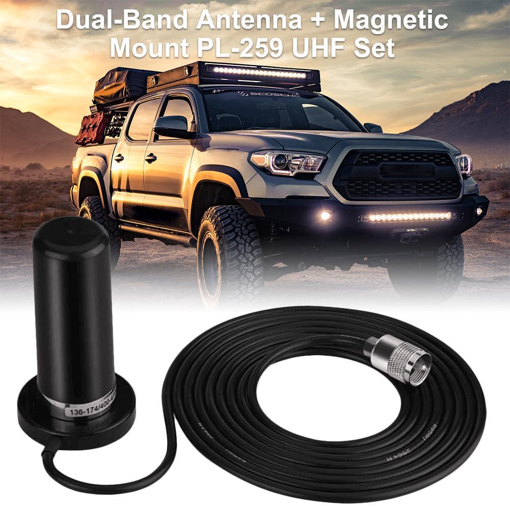 HH-N2RS Mini Dual-Band Antenna Magnetic Mount PL-259 UHF/VHF Set For Car Mobile Radio