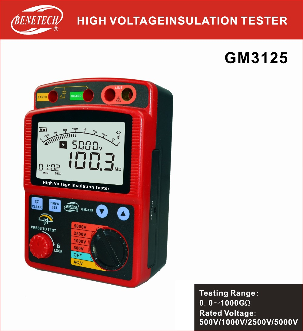 Benetech 100% original GM3125 digital de resistencia de aislamiento tester megohmmeter 5000 V megger aislamiento ohm voltímetro electrónico