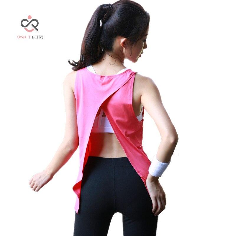 Sexy Pink Vest Fitness Mujeres Tank Tops Seco Quick Loose espalda - Ropa deportiva y accesorios