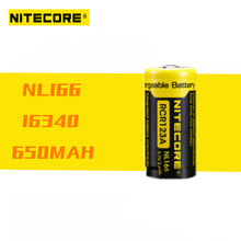 1 Pcs 100% Original Nitecore NL166 RCR123 3.7V 650mAh 2.4WH Rechargeable Li on Battery with protect for High Drain Devices
