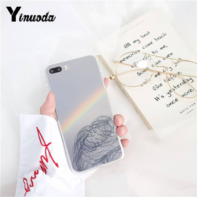 Yinuoda Retro Art line pair Soft Silicone Phone Case for iPhone X XS MAX 6 6s 7 7plus 8 8Plus 5 5S SE XR 10 in Half wrapped Cases from Cellphones Telecommunications
