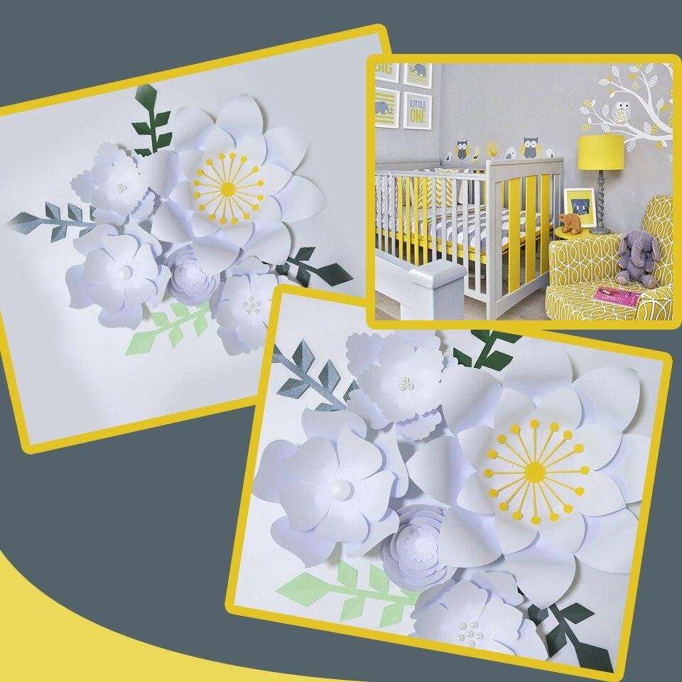 Ручная работа, белая роза, сделай сам, бумажные цветы, зеленые листья, набор для вечеринки, свадебные декорации, Декорации для детской стены,