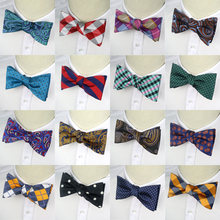 GHLB1-20 New Mens 100% Silk bowties Self Tie Men's bow Ties butterflies Check Polka Dot Paisley Jacquard Woven Men Butterfly(China)