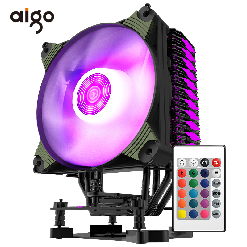 Aigo RGB Led CPU Cooler Fan 4 Heatpipes Heatsinks Radiator 120mm Silent PC CPU Cooling Fan Intel AMD 12V CPU Fan Water Cooler 12v 1800rpm 3 pin pc cpu cooling fan heatsinks cpu radiator computer case fan for desktop 80mmx80mmx15mm