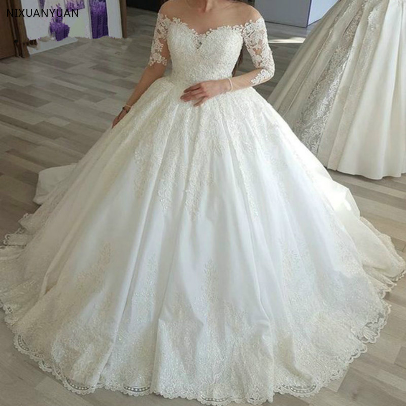 Vestido De Noiva 2020 Wedding Dresses Long Sleeves Appliques Lace Beaded Puffy Wedding Gown Bridal Dress Robe De Mariee