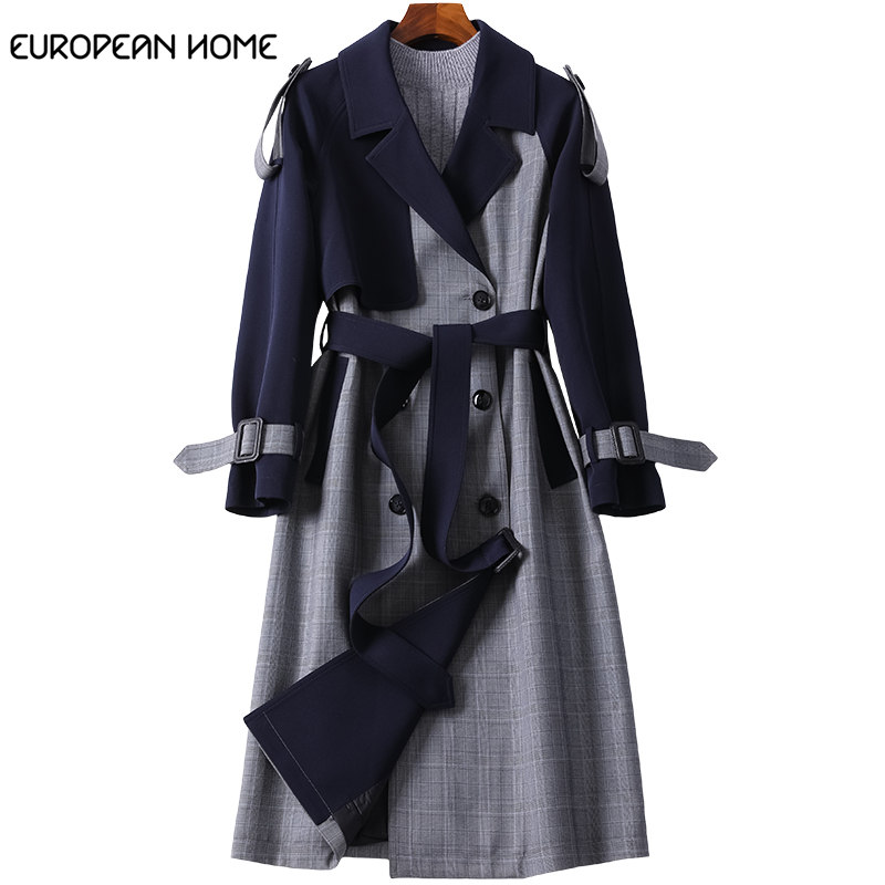 Spring Coat women Clothes 2019 Windbreaker New Korean fashion Double Breasted Plaid Stitching Autumn Long   Trench   coat women