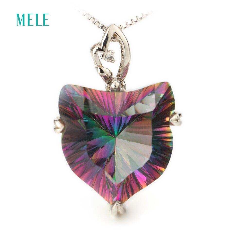 MELE Natural mystic quarts silver pendant 18mm lovely fox pendant colgantes de plata 925 mujer fashion