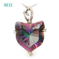 MELE Natural mystic quarts silver pendant, 18mm lovely fox pendant,colgantes de plata 925 mujer, fashion design and top quality