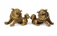 TNUKK Chanceux Chinois Fengshui Pur Laiton Gardien Foo Fu Chien Lion Statue Paire bateau libre