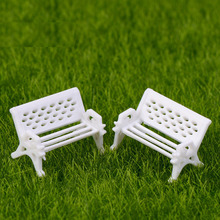 Miniature, Miniature Artificial Mini White Bench Chair Micro World Landscaping Decorative DIY Accessories Plastic Craft