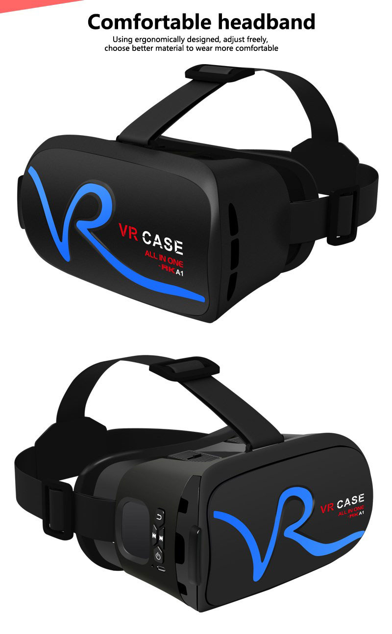 All IN ONE VR Glasses VR CASE RKA1 VR Headset Virtual Reality Glasses for 4-5.8 inches iPhone Mobile 3D IMAX Touch Control Blue 23