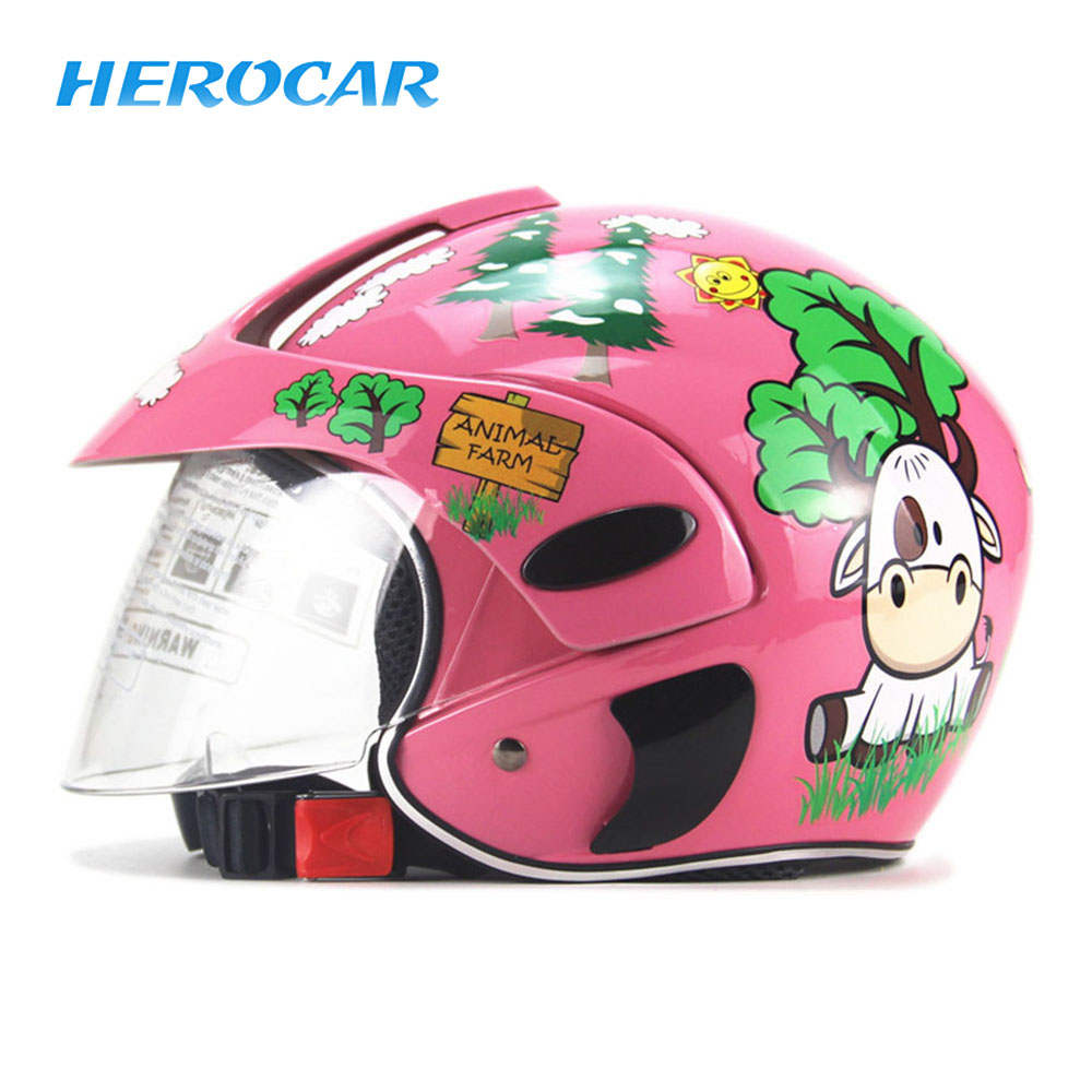 Half Face Motorcycle Helmet Cartoon Children Helmet For Motorcycle Safety Cap Capacete Moto Kids Crash Helmet For Girls And Boys