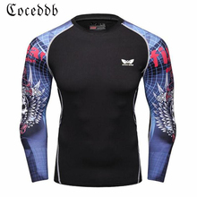 Compression Shirt Men's Base Tshirts Tight-Fitting Second Skin Technical Printing Long Sleeve Bodybuilding Tops