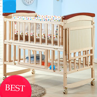 New solid wood baby crib multi functional baby bed pine infant cradle no paint Eco friendly newborn playpen changeable desk