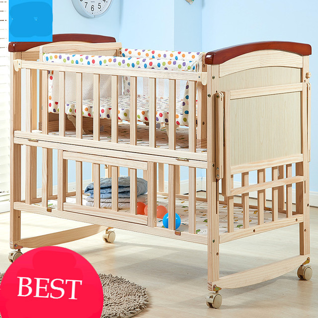 Amazing New solid wood baby crib multi functional baby bed pine infant cradle no paint Picture - Unique Best Baby Cribs