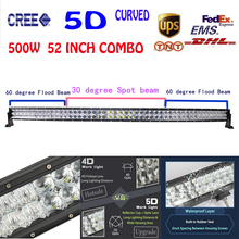 52Inch 500W 5D Cree Chips Combo LED Light Bar Curved External Work Lights Off-road Driving Lamp Headlights For Jeep VW Hummer