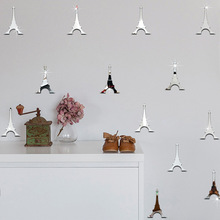 12pcs/set Paris Eiffel Tower Bedroom Living Room Decoration Sticker Wall Sticker Glass Surface Sticker Mirror Wall Stickers