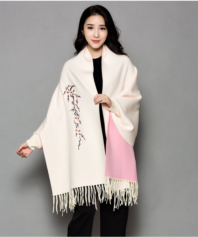 VOHIO 2018 new scarves and stoles Autumn/winter Plum embroidery white pink scarf Double duty cape cashmere long sleeves Ms cloak