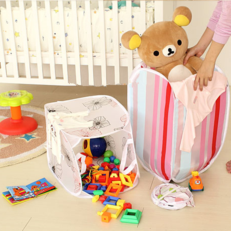 2pcs/lot Printing Laundry Basket Bathroom Collapsible Dirty Stuffed Toys Clothes Storage Basket Hamper Home Cleaning Essentials